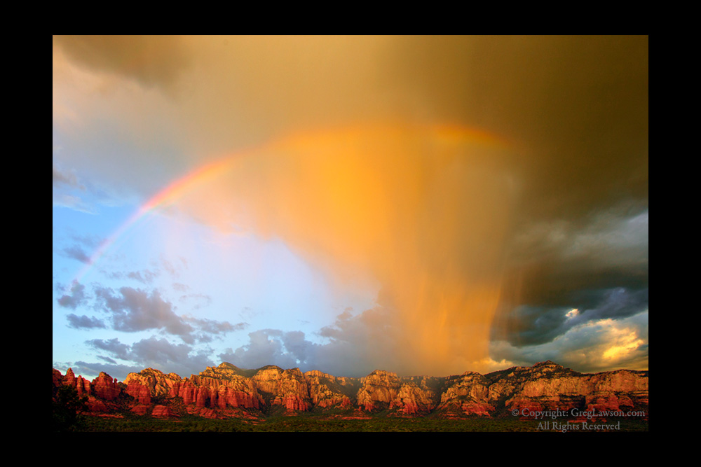 Sedona reds beneath a heavenly spectrum, Greg Lawson's Sedona photography art gallery