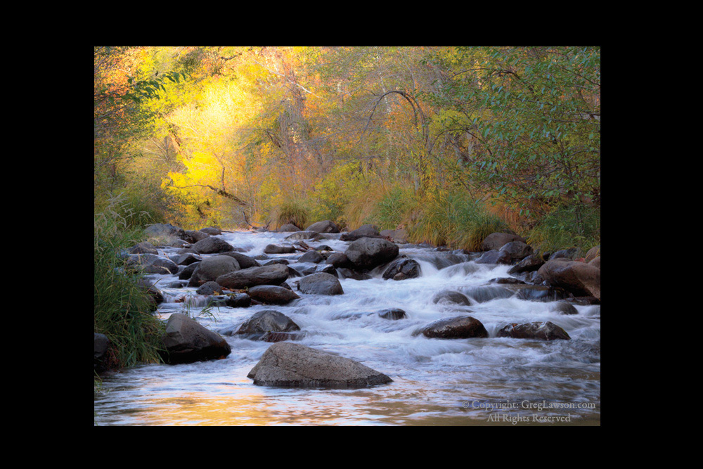 Sedona Oak Creek Incandescence - Sedona art gallery of photography - copyright Greg Lawson