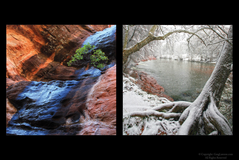 Secret Mountain water course and Oak Creek in winter, Greg Lawson Galleries Sedona