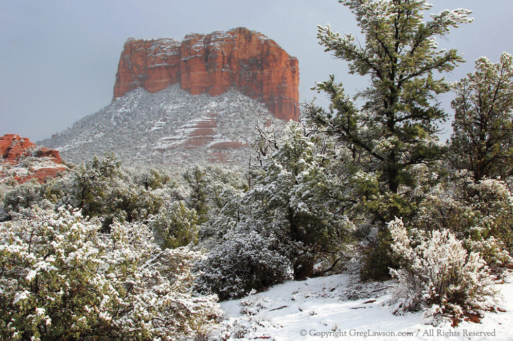 Greg Lawson Photography Art Gallery - Courthouse Butte Snowy Sedona