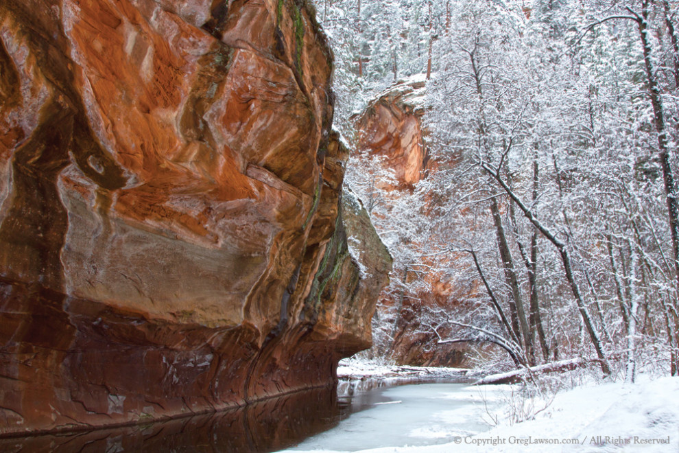 "Sedona, Arizona: Winter's Morning reveals the wonders of the night, West Fork of Oak Creek. Greg Lawson photography at Greg Lawson's ""Passion for Place"" Art Gallery in West Sedona."