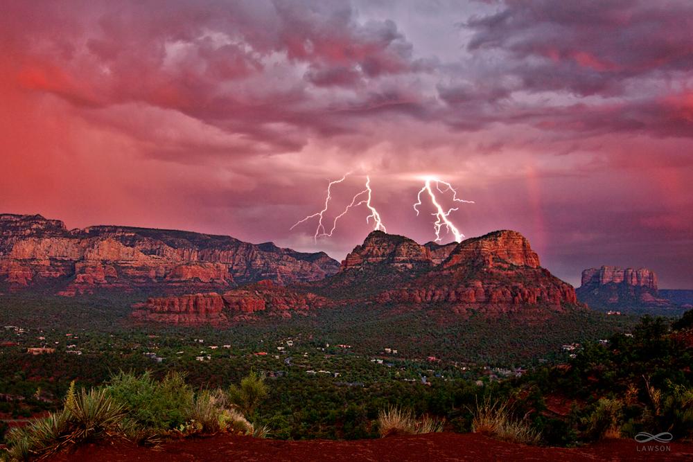 Lightning Strike at Twin Buttes, Sedona, Arizona. Copyright Greg Lawson. Greg Lawson Image Art Gallery, Sedona.